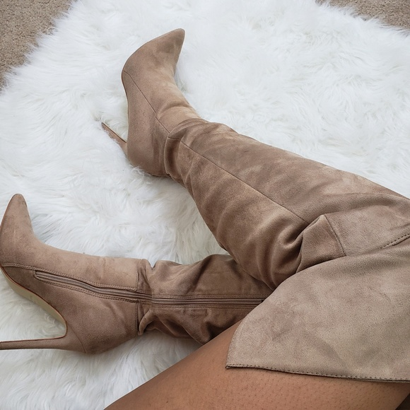 d521319e5ce Glaze Shoes - Thigh High Faux Suede Pointed Toe Slouch Boots